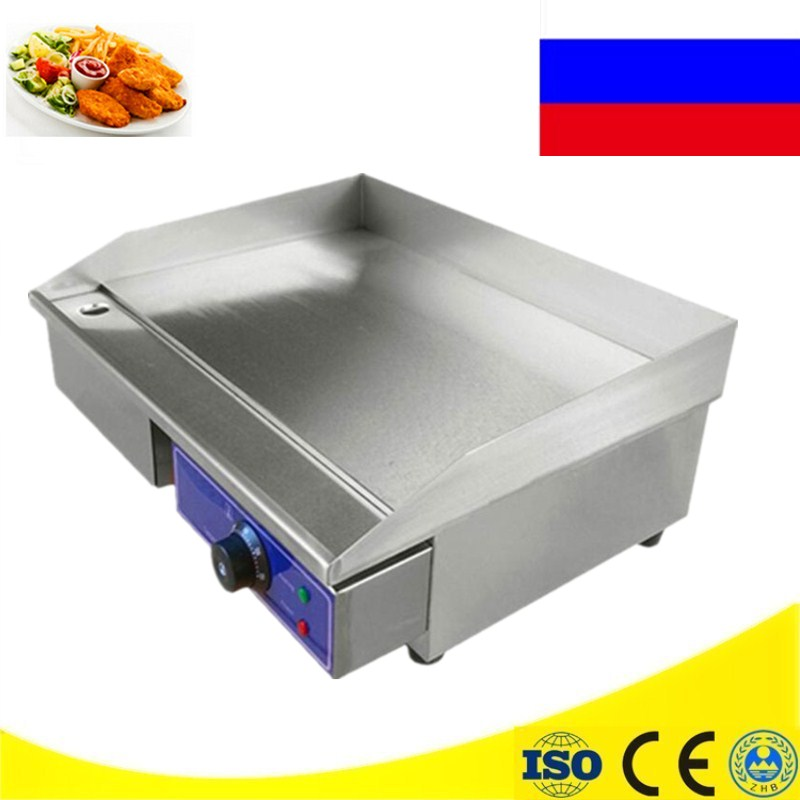 Commercial Stainless Steel Cooking Appliance Flat Pan Grooved Electric Griddle Fryer For Home Use commercial flat griddle for sale