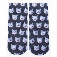 2016 New Arrival 3D Printed Low Cut Ped Socks 9 Colors Cute Kawaii Carton Cat Animal Funny Socks Women