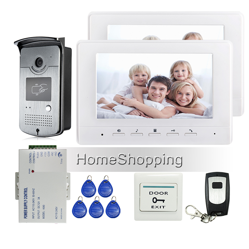 FREE SHIPPING BRAND New 7″ Color Screen Video Door Phone Intercom System + 2 White Monitor + Outdoor RFID Reader Doorbell Camera