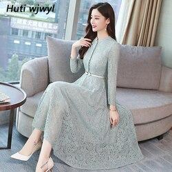 2019 женщин сплошной цвет осень и зима большого размера ретро синий кружевном платье миди для женщин элегантный Bodycon черное длинное платье ве...