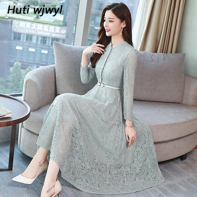 2019 Autumn Winter Plus Size Vintage Lace Midi Dresses Women Elegant Bodycon Black Maxi Dress Party Long Sleeve Runway Vestidos-in Dresses from Women's Clothing