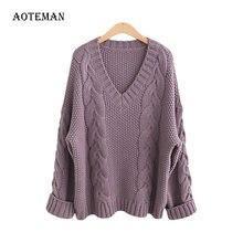 Женский свитер оверсайз с длинным рукавом однотонный теплый