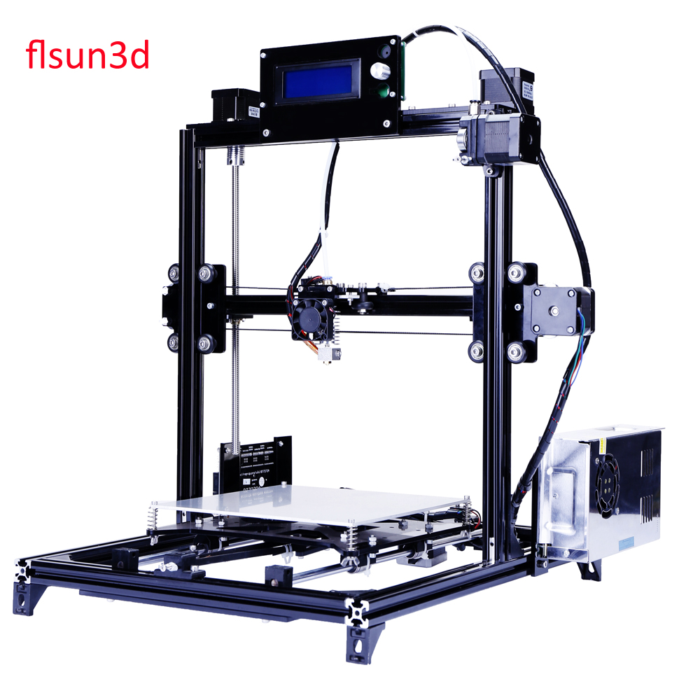 2016 New Aluminium Structure flsun3d 3D Printer DIY Prusa i3 3d Printer Kit Heated Bed Two Rolls Filament SD Card