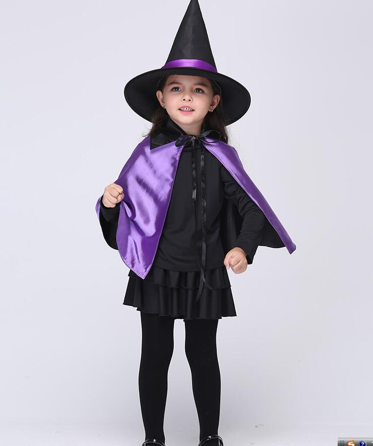 Ragazzo Ragazza Bambini bambini Costumi di Halloween Strega viola Guidata  Mantello Abito Robe e Cappello Cosplay per I Bambini Delle Ragazze Dei  Ragazzi in ... b24e490c06ab