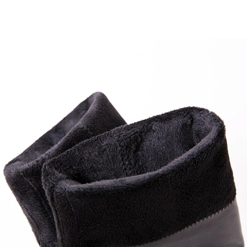Bottes Femmes Hiver Femme Genou Med Bout Plush En Chaussures Véritable Cuir No Éclair Talon black Chaudes With Plush Cours Kcenid Nouvelles Fermeture Rond Noir Black 6EWw8q5xn