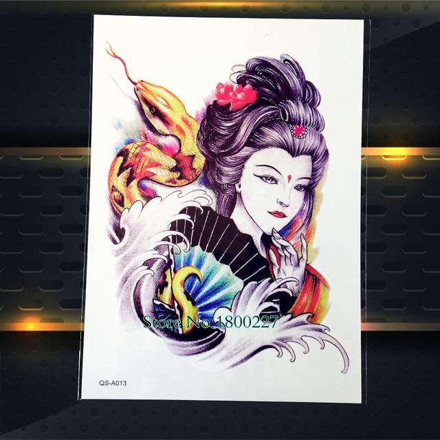 1 Pc Keren Removable Jepang Geisha Gadis Temporary Tattoo Pasta Pqs