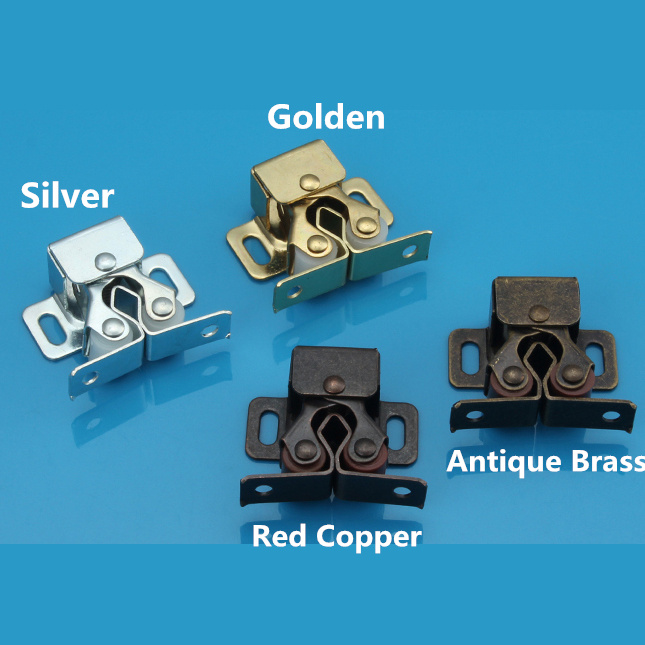 Small size Double roller bronze plate door latch wardrobe catch kitchen cabinet cupboard push to open beetles drawer cabinet latch catch touch release kitchen cupboard new arrival high quality