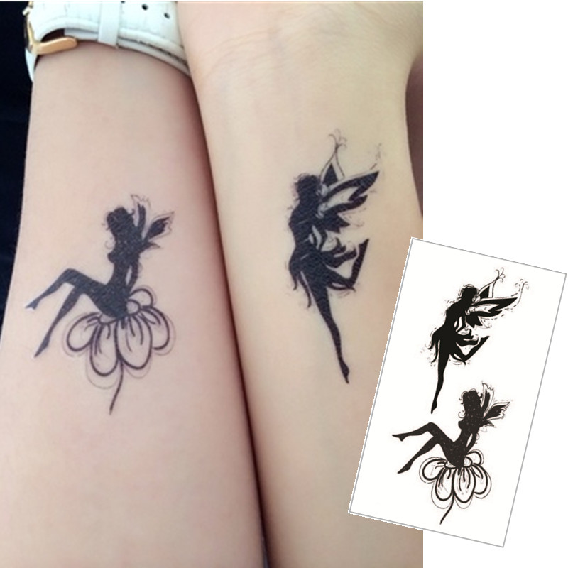 Shnapign Double Angel Flash Tattoo Hand Sticker 10.5 6cm Small Waterproof Henna Beauty Temporary