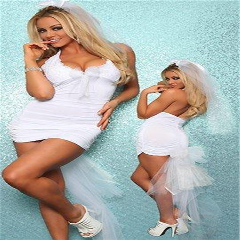 Sexy Women White French Maid Costumes Servant Cosplay Sex Lace Lingerie Nightwear -3838