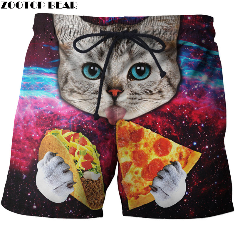 Universe Men T-Short Breathable Fitness Male Surfing Beach Workout Quick Dry Short Bodybuilding 3D Print Animal Summer Sporting