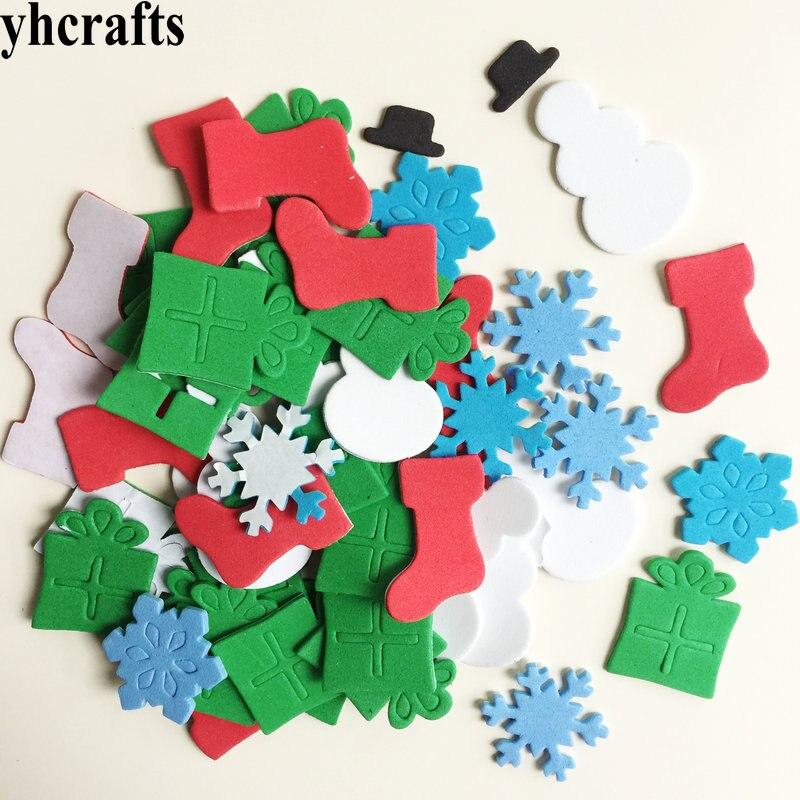 1 пакетов/лот, снежинка, рождественские наклейки из пены для раннего обучения, Обучающие поделки, diy игрушки, детская комната, орнамент, цветная обучающая креативная OEM - Цвет: 40PCS gift box snow