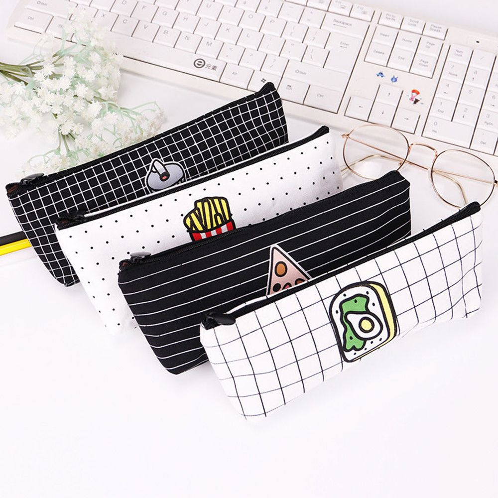 1pc Newly Cute Fries Cola Pizza Fast Food Pencil Case Stationery Canvas Pen Make Up Storage Bag School Office Organizer Making Things Convenient For The People