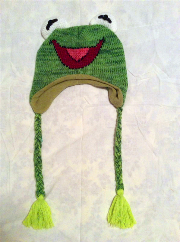 2019 New Style The Animals Green Frog Plush Laplander Beanie Knit Hat With Tassels Reversible Specialty Knitting Knitted Wool Cotton Cap Novelty & Special Use