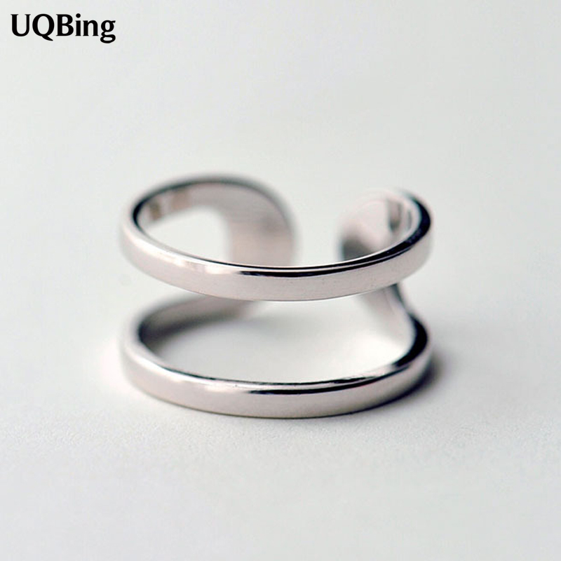 Latest Hot Unique Ring Sterling 925 Silver Rings Geometric Double Rings For Girl Women Gift Jewelry Free Shipping