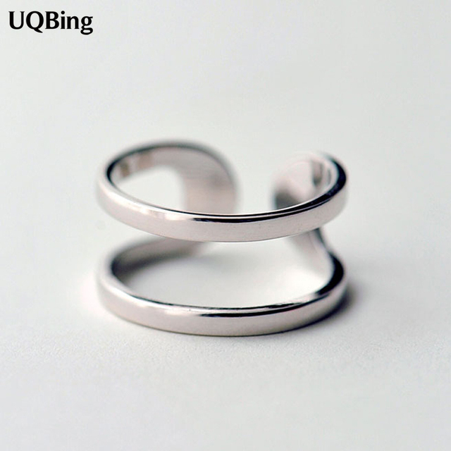 Latest Hot Unique Ring Sterling 925 Silver Rings Geometric Double Rings For Girl