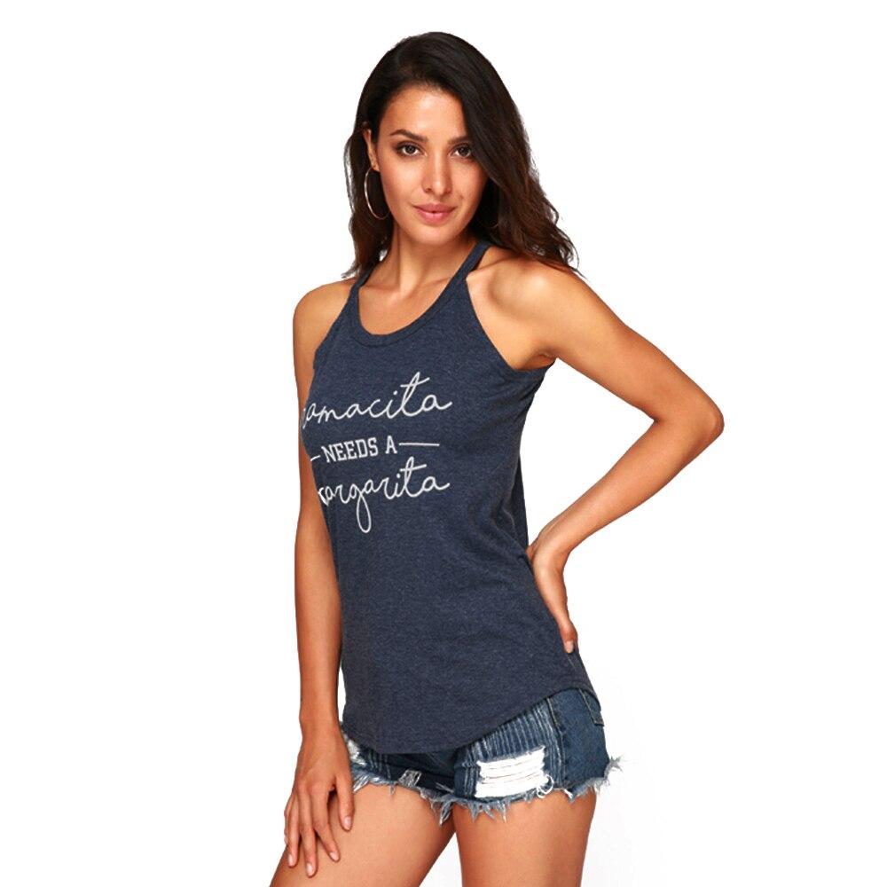 Майки женские летние Mamacita mama Needs A Margarita Haut Femme без рукавов панковская футболка рейверская Праздничная жилетка уличная Синяя