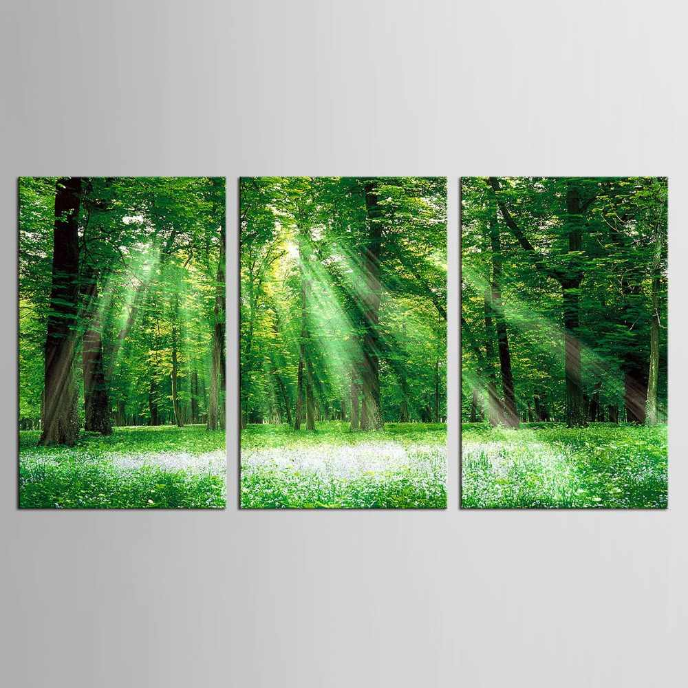 3 Panel Abstract Landscape Printed Canvas Art Green Tree Canvas Wall Picture Decoration Home Modern Canvas Oil Art