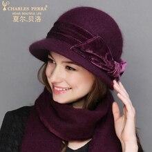 Charles Perra Women Hat Winter Plus Cotton Thicken Warm Wool Hats Scarf Two-Piece Rabbit Hair Blend Elegant 2323