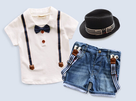 Kids clothes fashion boys clothes short sleeve t-shirt+demin boy shorts cotton t-shirt clothing set + hat