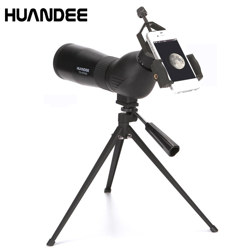 Original HUANDEE 15-45X60 Zoom Spotting Scope with Tripod for Bird watching Long Range Target Shooting monocular telescope hot selling 15 40x50 zoom hd monocular bird watching telescope binoculars with portable tripod spotting scope blue coating