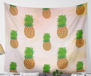 Image 2 - CAMMITEVER Waves Pineapple Fruit Tapestry Polyester Curtains Plus Table Cover Wall Hanging Tapestry Decor