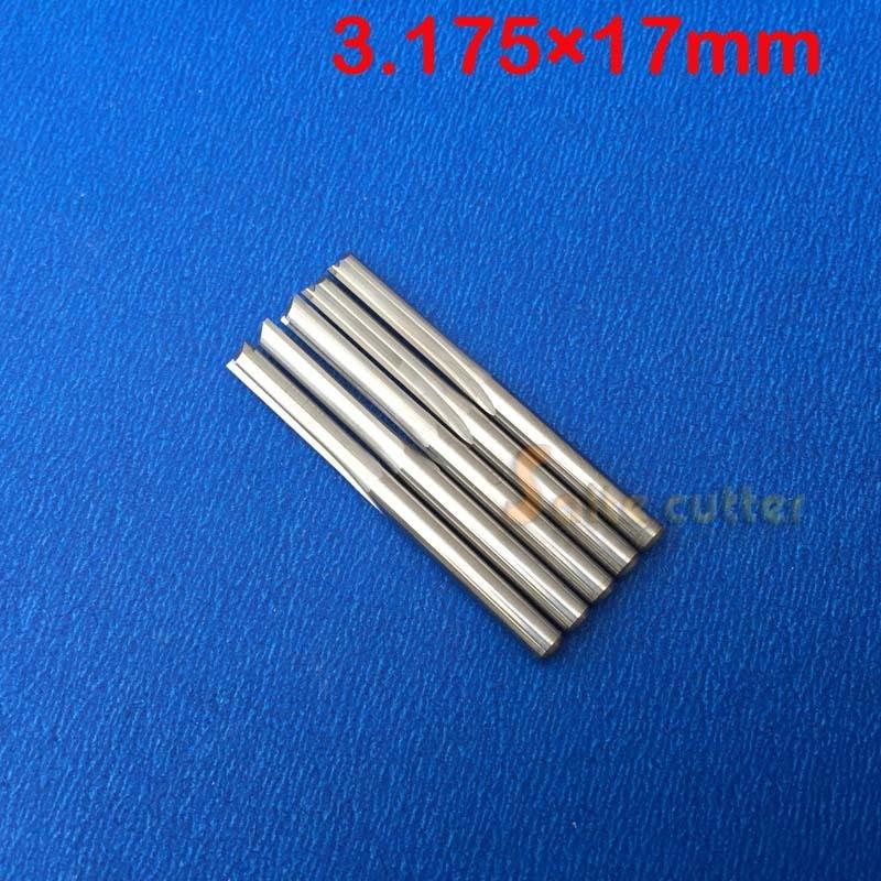 10 قطعه قطعه دو فلوت مستقیم برش کاربید برش CNC روتر بیت 3.175 * 17mm
