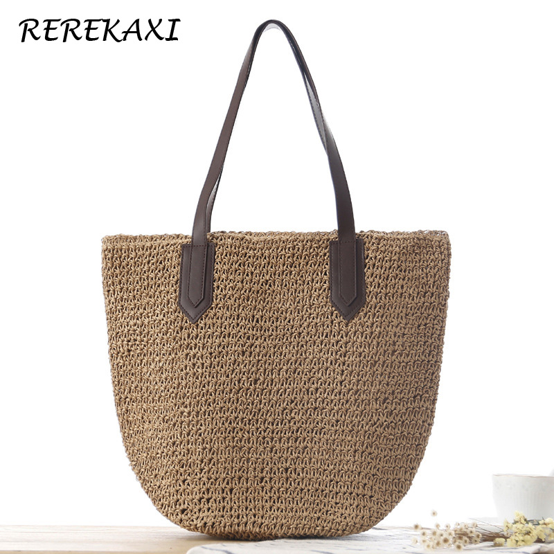 <font><b>REREKAXI</b></font> Women's Handbag Handmade Straw Bag Bohemian Summer Beach Bags Female Shoulder Bag Weave High Capacity Tote Pouch image