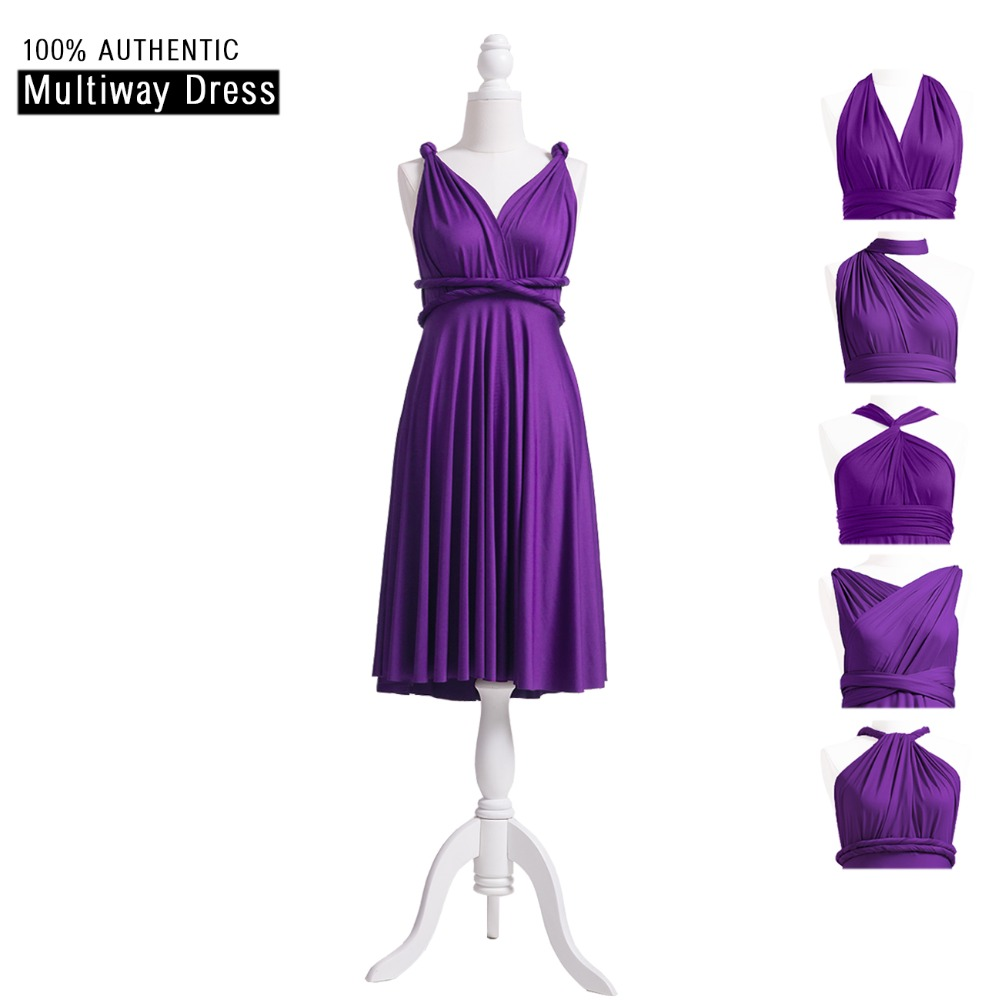 fe6927fa1d8b Purple Bridesmaid Dress Short MultiWay Convertible Dress Infinity Dress  Grape Short Wrap Dress With Straps Cap Sleeves Styles