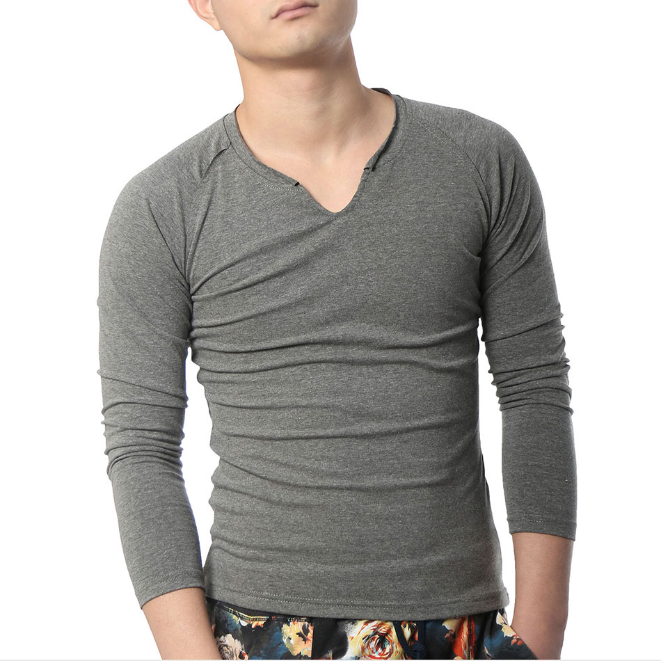 Long Sleeve T Shirts Men Cotton Designer V Neck Plain