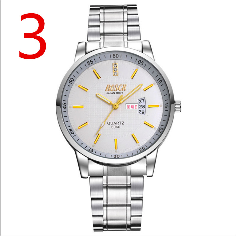 2018 Korean version of the latest men's watch business calendar fashion stainless steel mechanical quartz watch 00the latest version of ultra thin led mirror to watch fashion ideas led watch spider web ball type