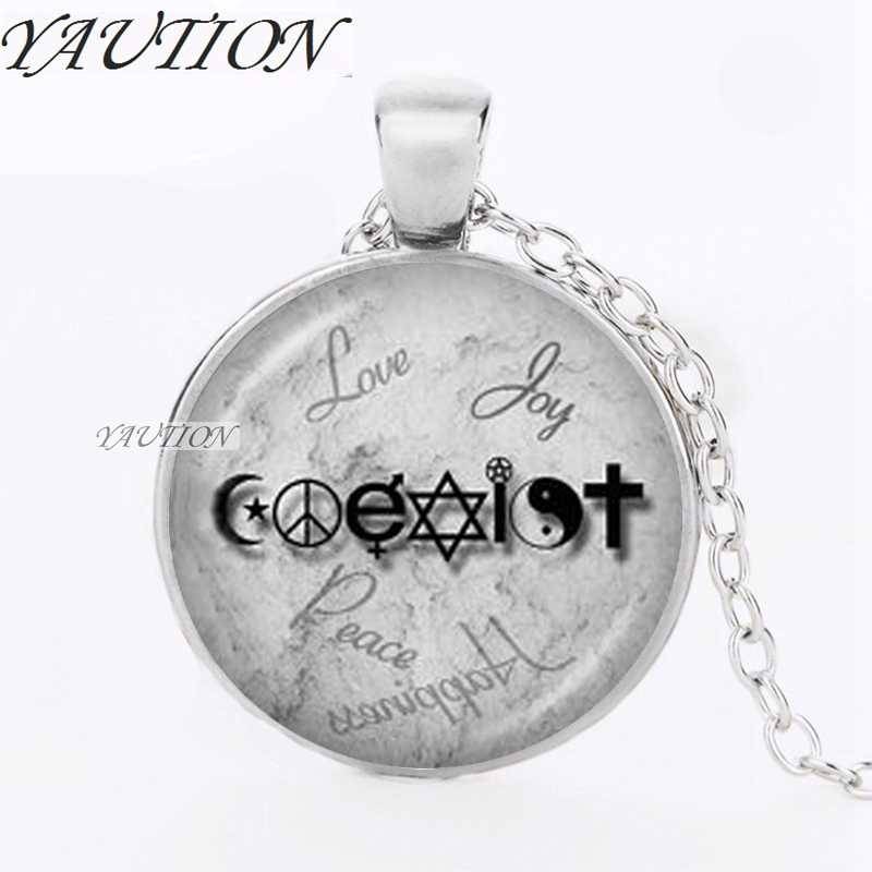 Yaution coexist necklace unity of faith pendant crescent moon yaution coexist necklace unity of faith pendant crescent moon jewelry yin yang pentagram cross hippy love peace sign necklace in pendant necklaces from aloadofball Gallery