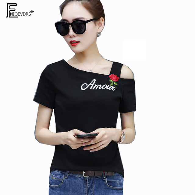 b239da767299d 4 Colors Rose T-Shirts Hot Sales Women Fashion Design Cute Sweet Off Open  Shoulder Tops Yellow White Black Cotton T Shirts