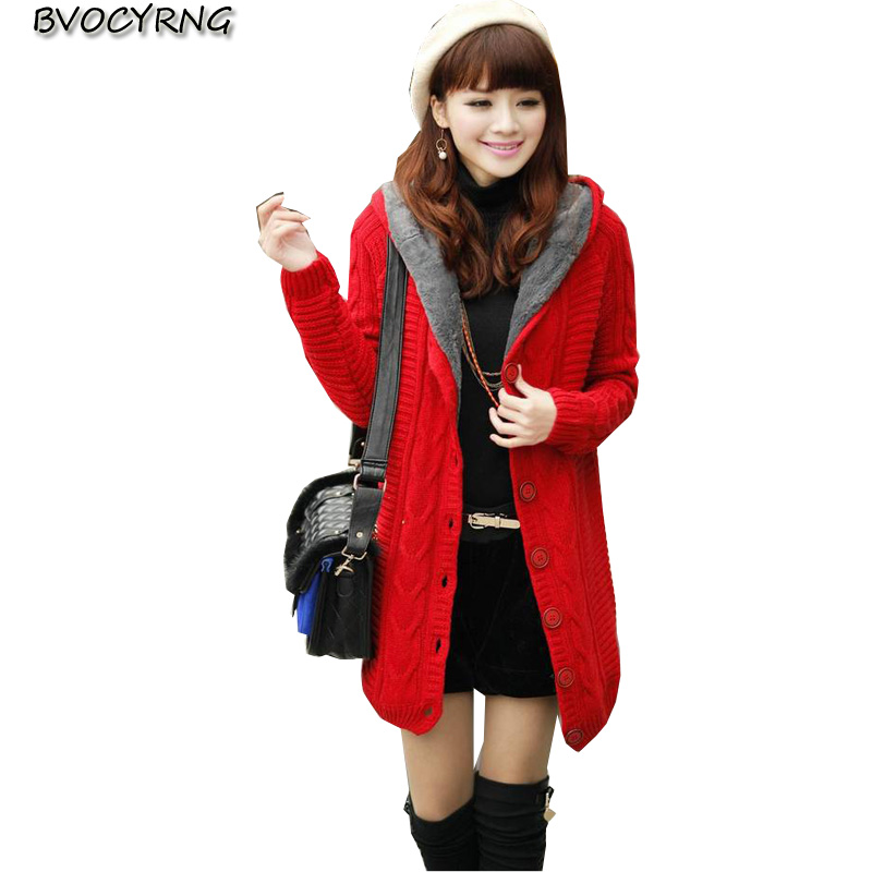 2017New Autumn Winter Leisure Women Cardigan Pure Color Hooded Fashion Medium Long Thickening + Keep Warm High-end Knit Q512