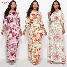 Adogirl Women Floral Print Boho Beach Summer Maxi Dress Casual Short Sleeve O Neck Club Long Dresses Lady Vestidos Plus Size 3XL