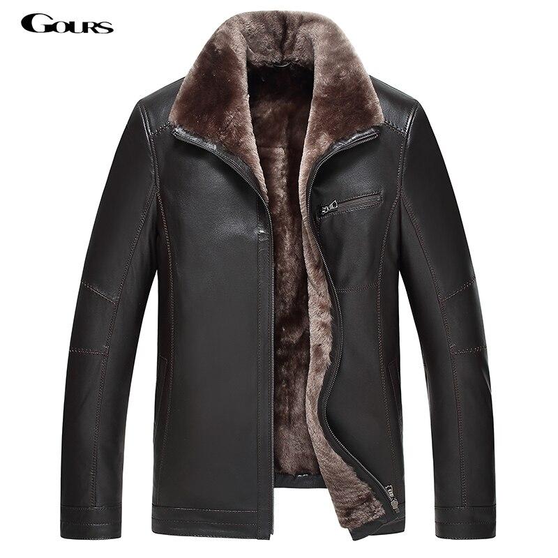 Gours зима Для Мужчин's Кожаные куртки брендовая одежда модные черные овчины куртка и пальто с шерстяной воротник 2018 Новый 4XL