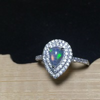 Fire Natural Australia Opal Stone Solid Silver 925 Rings Women Classic Princess Ring 100% 925 Sterling Silver Jewelry Women Gift