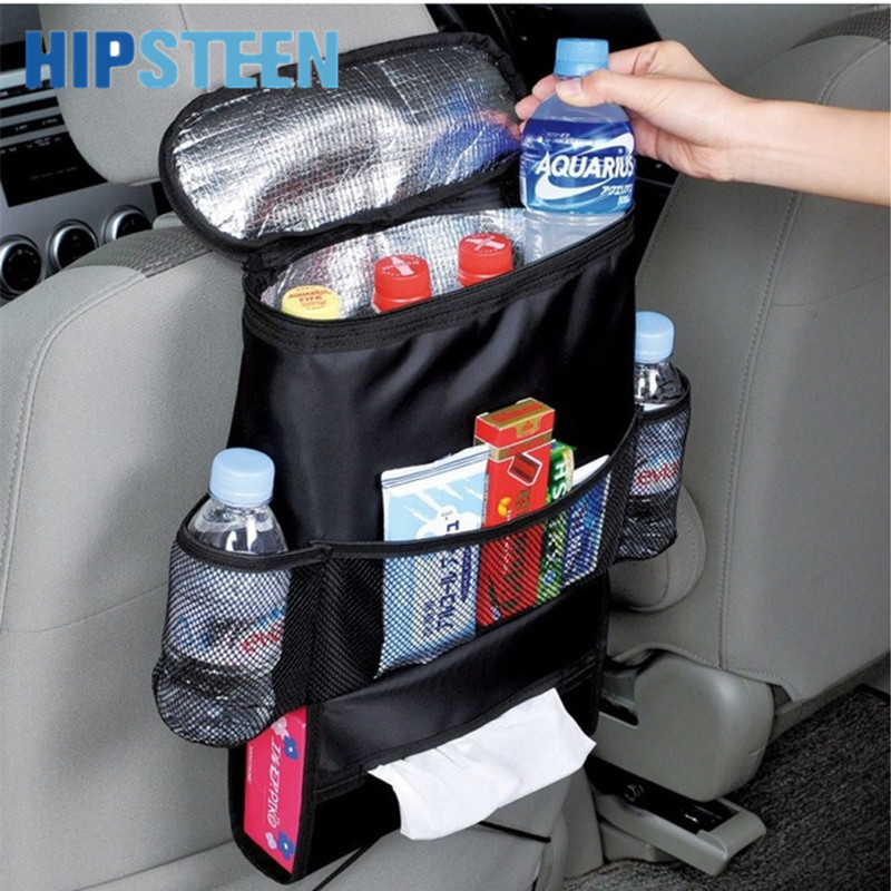 HIPSTEEN Multifunktions Bilsæde Bag Arrangør Multi-Pocket Rejse Opbevaring Bag Drinks Holder Car Cooler Bag Med Tissue Box