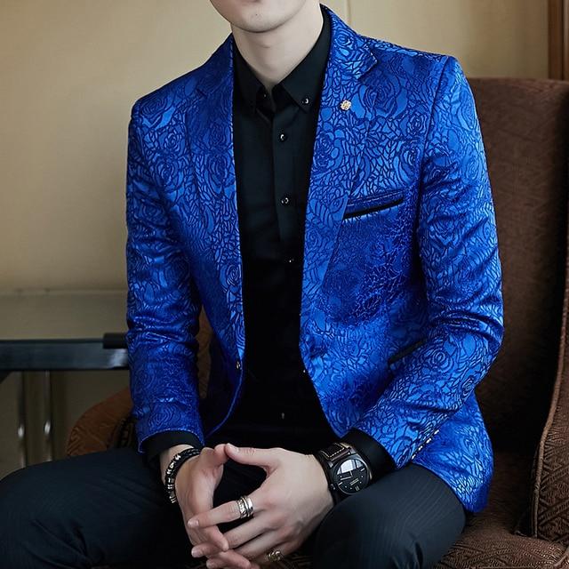 e7695689e4 Rosa Jaquard impresión Slim Fit Blazer azul real negro Promo Blazer para  hombres chaqueta elegante negocios