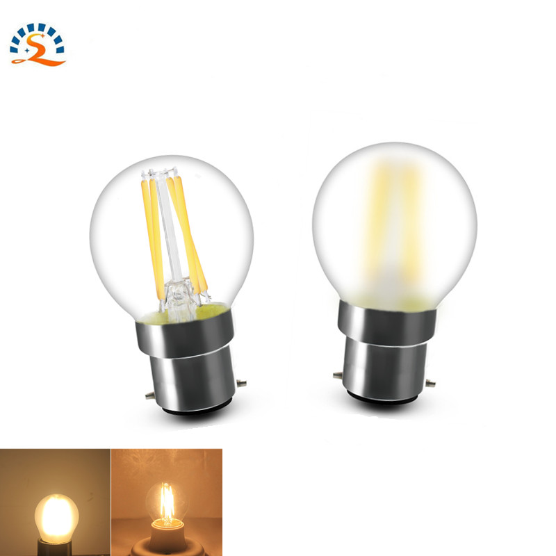 Frosted Clear Glass G45 4w 220v B22 Warm LED Filament Lamp Lights Small Bulbs Edison Retro Light Bulb