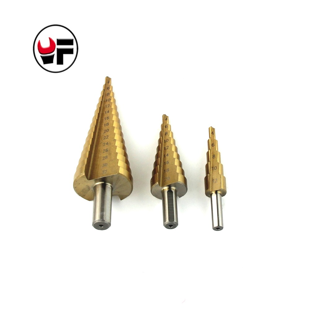 YOFE 3Pcs drill High Speed Steel Step Cone Drill Bits For Metal Set of Cones Drills Power Tools Brocas Para Metal 13pcs set hss high speed steel twist drill bit for metal titanium coated drill 1 4 hex shank 1 5 6 5mm power tools par ad1038