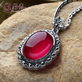 Love is the Thai silver, 925 silver jewelry pendant necklace fashion retro red corundum, new special personality