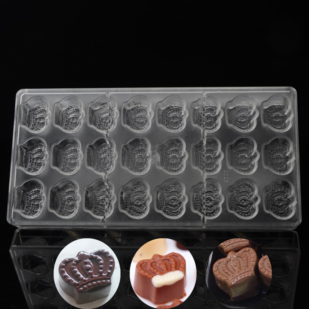 Professional wedding invitation chocolate molds princess crown shape chocolate polycarbonate mold pc plastic wedding candy tools