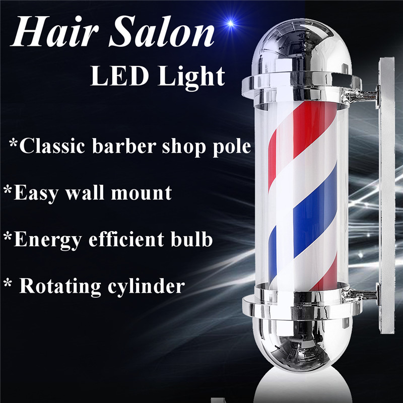 30 LED Barber Shop Sign Pole Red White Blue Stripe Design Roating Salon Wall Hanging Light Lamp 220V 8W Beauty Salon Equipment