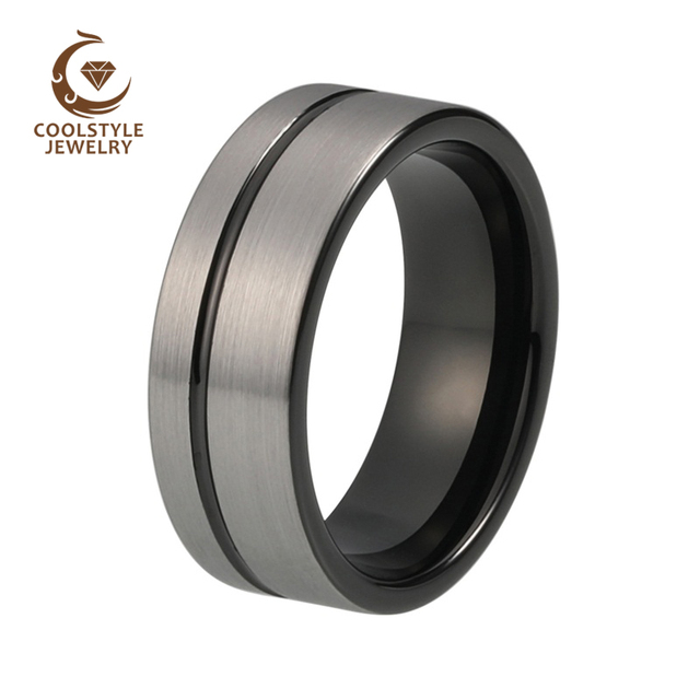 Tungsten Jewelry Women Men Ring 8mm Silver Brushed Top Black Plaed Offset Line Wedding Band