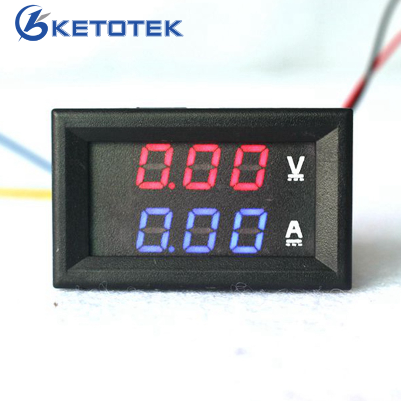 Car Red Blue LED DC 0-100V/10A 50A 100A Motorcycle Digital Amp Meter Volt panel Meter Gauge Ammeter Voltmeter digital 3 in 1 multifunctional car digital voltmeter usb car charger led battery dc voltmeter thermometer temperature meter sensor