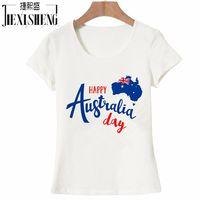 Happy Australia Day Letter Design Printed T Shirt Women 100 Cotton Short Sleeve Tops Tees High