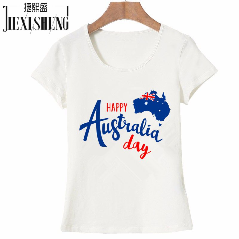 Happy australia day letter design printed t shirt women for Design t shirts online australia