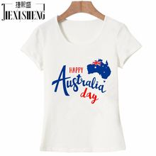 Happy Australia day letter Design Printed t shirt Women 100% Cotton short sleeve tops tees High Quality Women's Clothes HH255