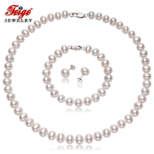 Genuine Womens Natural Freshwater Pearl Jewelry Sets 8-9mm White Pearls Necklace Set 925 Silver Earrings Fine By FEIGE