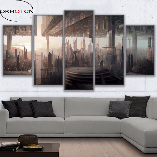 OKHOTCN Wall Art Canvas Pictures HD Printed Home Decor 5 Pieces Futuristic  Cityscape Oil Painting Frame